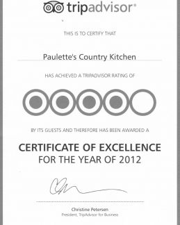 We are happy to announce that Paulette's Country Kitchen received this certificate of excellence.
